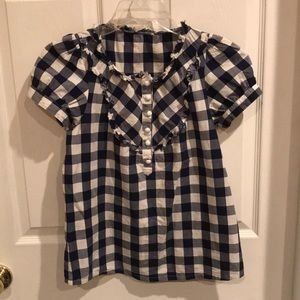 Tops - Navy & white gingham top